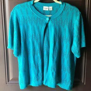 Cato turquoise shaker sleeve cardigan